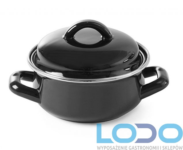 Garnek emaliowany do zup i sosów - z pokrywką 0,6 l czarny