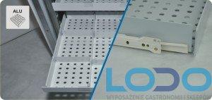 Szuflada aluminiowa na prowadnicach malowanych proszkowo z segregatorem do chłodziarek farmaceutycz CHL 700/1200 Pol-eko